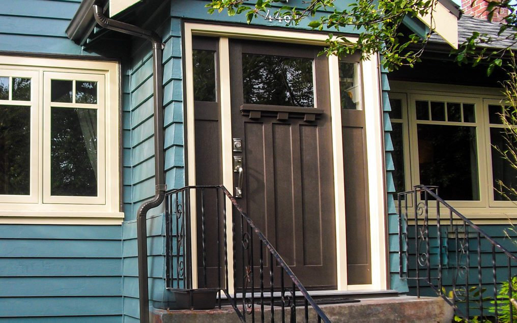 front entry door with dentil shelf craftsman style door